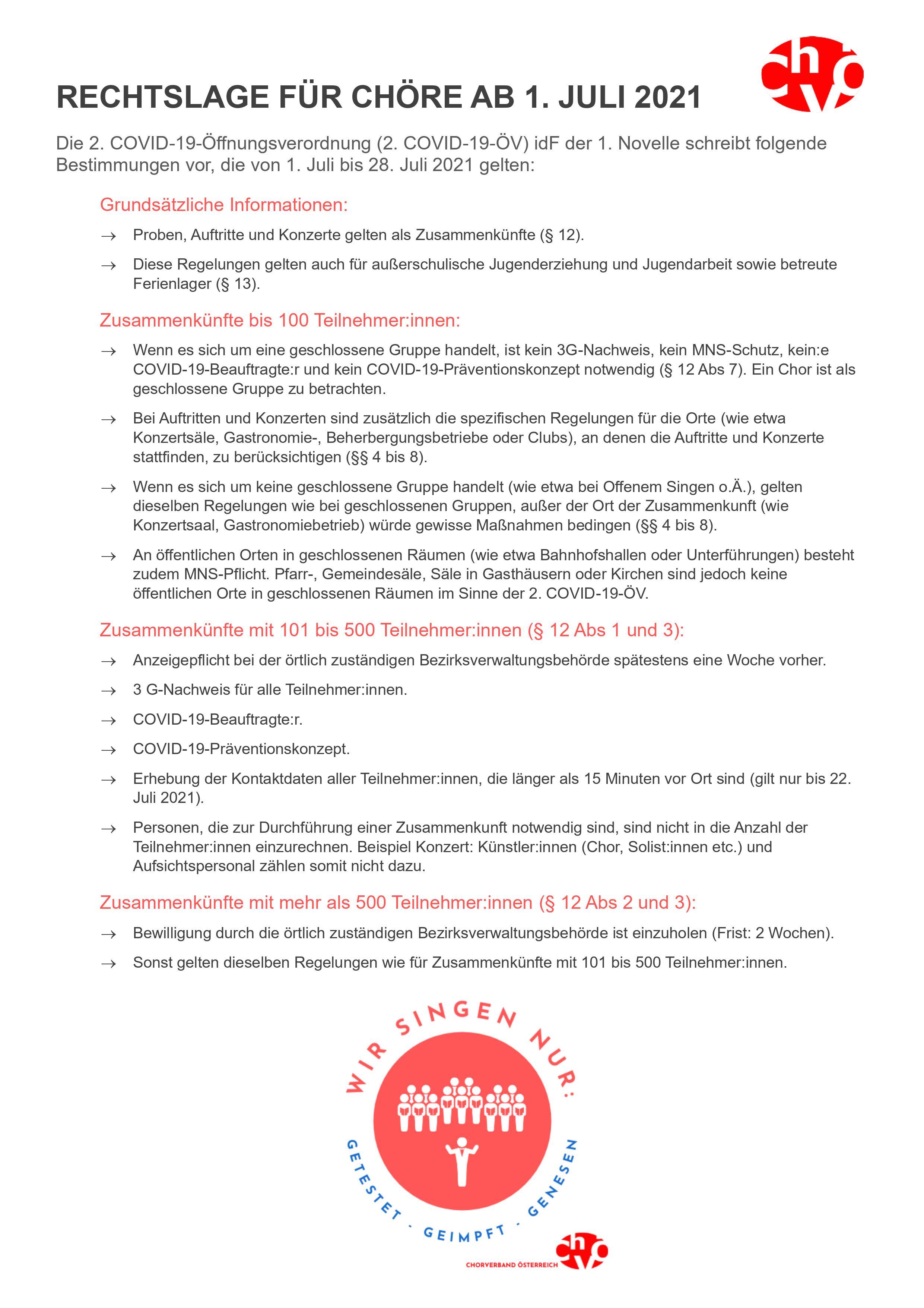 Übersicht zur Rechtslage für Chöre ab 1. Juli 2021 - Chorverband Österreich